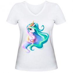 Женская футболка с V-образным вырезом Принцесса Селестия