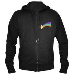 Чоловіча толстовка на блискавці Print Mabel star and rainbow