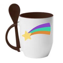 Кружка з керамічною ложкою Print Mabel star and rainbow