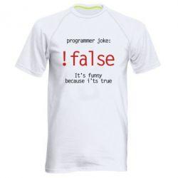 Мужская спортивная футболка Programmer joke: !false