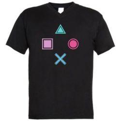 Мужская футболка  с V-образным вырезом PS vector
