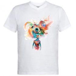 Мужская футболка  с V-образным вырезом Психоделика