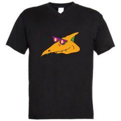 Чоловіча футболка з V-подібним вирізом Pterodactyl in glasses