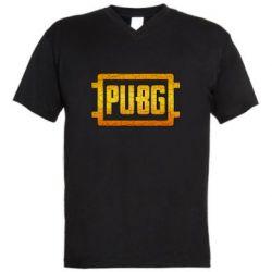 Мужская футболка  с V-образным вырезом PUBG and cracks