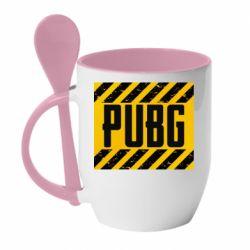 Кружка с керамической ложкой PUBG and stripes