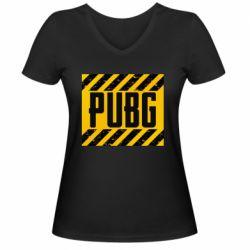 Женская футболка с V-образным вырезом PUBG and stripes