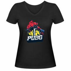 Жіноча футболка з V-подібним вирізом Pubg art 1