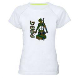 Жіноча спортивна футболка Pubg camouflage silhouette
