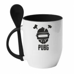 Кружка с керамической ложкой PUBG: hero face