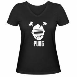 Женская футболка с V-образным вырезом PUBG: hero face