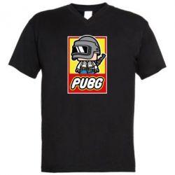 Мужская футболка  с V-образным вырезом PUBG LEGO