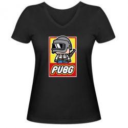 Женская футболка с V-образным вырезом PUBG LEGO