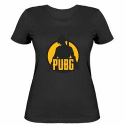Женская футболка PUBG logo and game hero