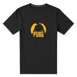 Мужская стрейчевая футболка PUBG logo and game hero