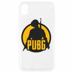Чехол для iPhone XR PUBG logo and game hero