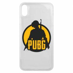 Чехол для iPhone Xs Max PUBG logo and game hero