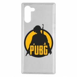 Чехол для Samsung Note 10 PUBG logo and game hero