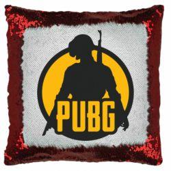 Подушка-хамелеон PUBG logo and game hero