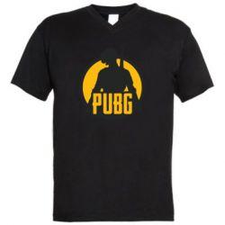 Мужская футболка  с V-образным вырезом PUBG logo and game hero