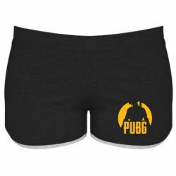 Женские шорты PUBG logo and game hero