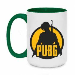 Кружка двухцветная 420ml PUBG logo and game hero