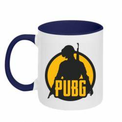 Кружка двухцветная 320ml PUBG logo and game hero