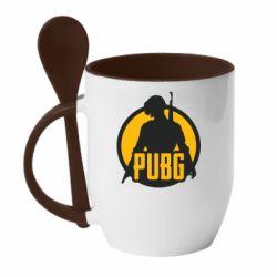 Кружка с керамической ложкой PUBG logo and game hero