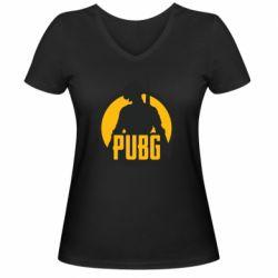 Женская футболка с V-образным вырезом PUBG logo and game hero