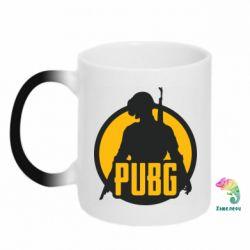 Кружка-хамелеон PUBG logo and game hero