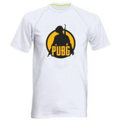 Мужская спортивная футболка PUBG logo and game hero