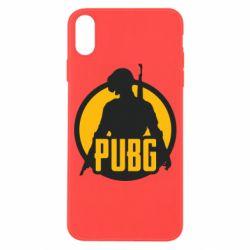 Чехол для iPhone X/Xs PUBG logo and game hero