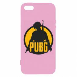 Чехол для iPhone5/5S/SE PUBG logo and game hero