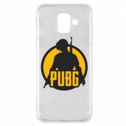 Чехол для Samsung A6 2018 PUBG logo and game hero