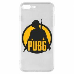 Чехол для iPhone 8 Plus PUBG logo and game hero