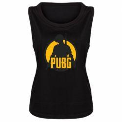 Женская майка PUBG logo and game hero