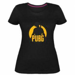 Женская стрейчевая футболка PUBG logo and game hero