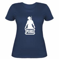 Женская футболка PUBG logo and hero