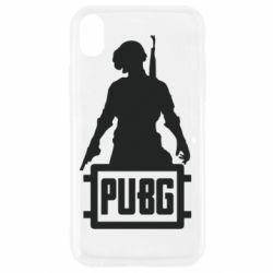 Чехол для iPhone XR PUBG logo and hero