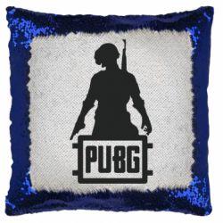 Подушка-хамелеон PUBG logo and hero