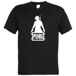 Мужская футболка  с V-образным вырезом PUBG logo and hero