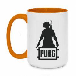 Кружка двухцветная 420ml PUBG logo and hero