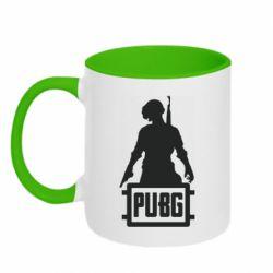 Кружка двухцветная 320ml PUBG logo and hero