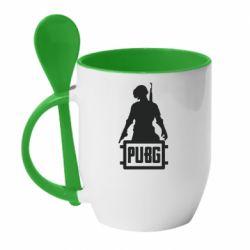 Кружка с керамической ложкой PUBG logo and hero