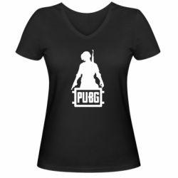 Женская футболка с V-образным вырезом PUBG logo and hero