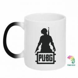 Кружка-хамелеон PUBG logo and hero