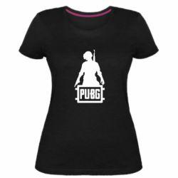 Женская стрейчевая футболка PUBG logo and hero