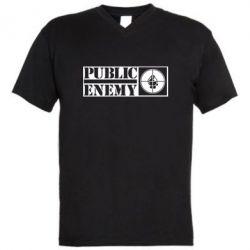 Мужская футболка  с V-образным вырезом Public Enemy - FatLine