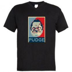 Мужская футболка  с V-образным вырезом Pudge aka Obey