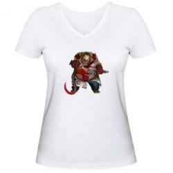 Женская футболка с V-образным вырезом Pudge Dota 2 - FatLine