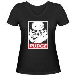 Женская футболка с V-образным вырезом Pudge Obey - FatLine